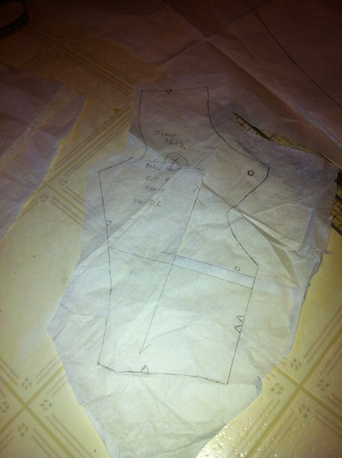 Above-bust adjustment. I made it stepwise so as not to raise the neckline.