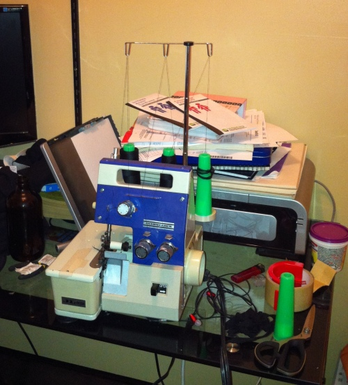 Refugee serger camped out on the computerdesk. #sewdontclean