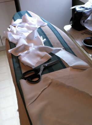 Making continuous silk bias tape. Mmmm, silk bias tape.