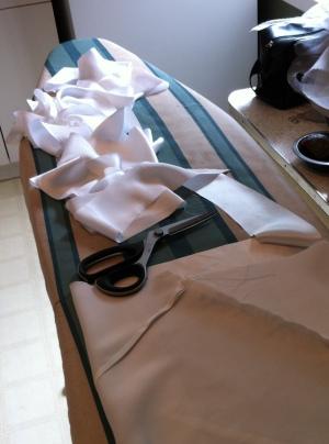 Making continuous silk bias tape. Mmmm, silk bias tape.
